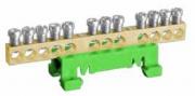 Нулевая шина, открытая, пластиковый держатель на DIN-рейку, 12х10 мм кв